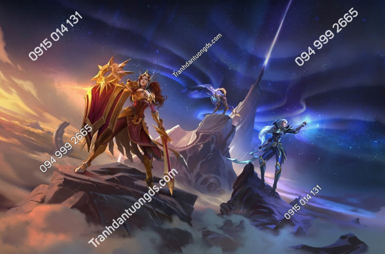 Tranh vải lụa dán tường game leona-diana-and-pantheon-league-of-legends