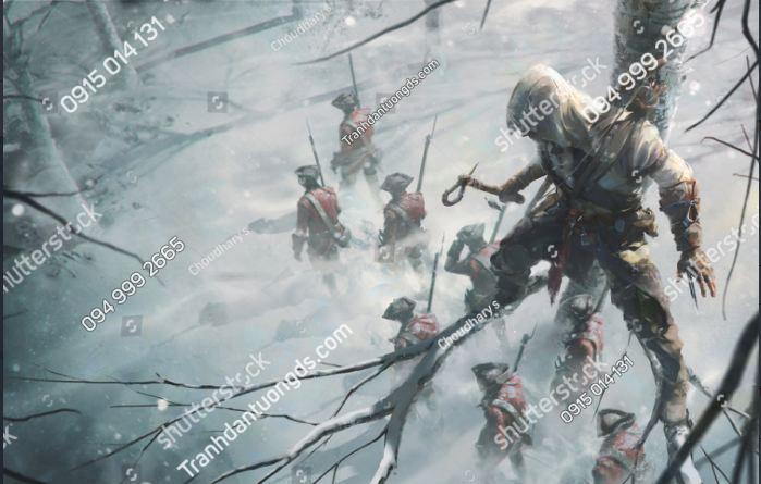 Trannh dán tường tiệm nét warrior-standing-on-branch-tree-hiding-1963111465