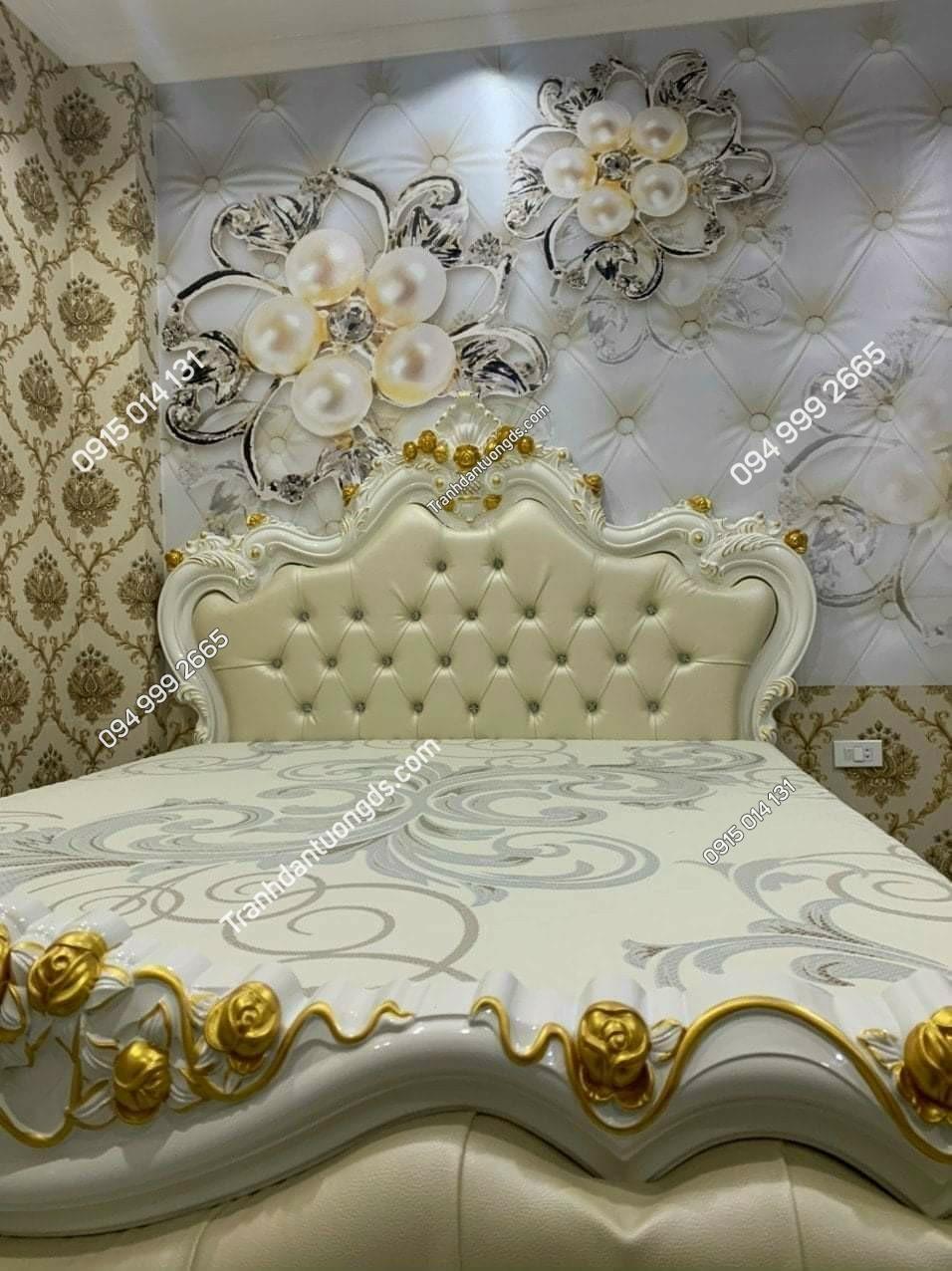 dán tường phòng ngủ kết hợp giấy dán