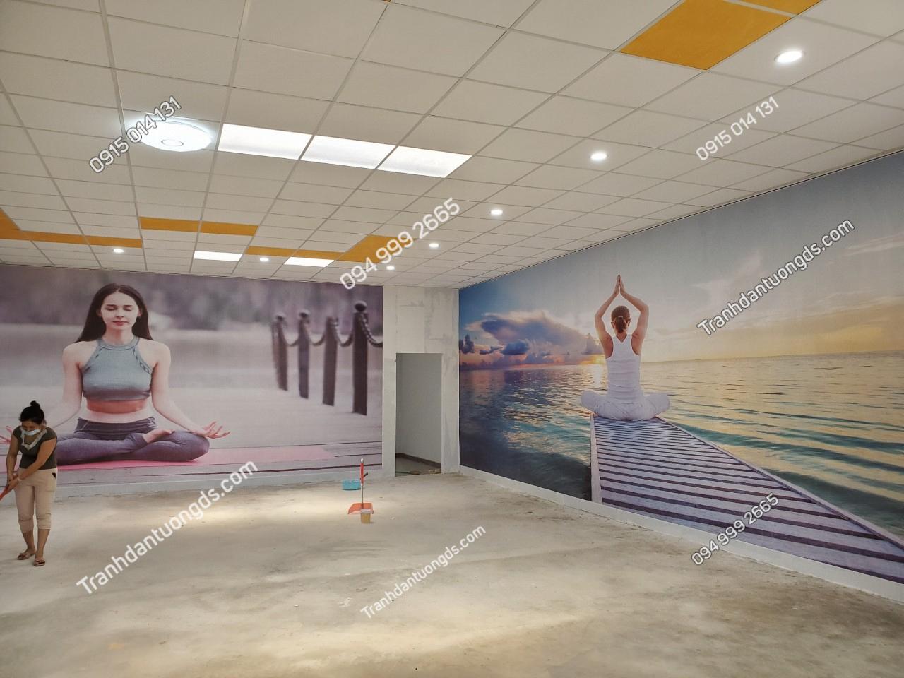 Tranh dán tường phòng yoga