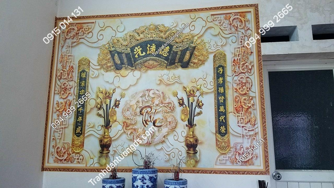 tranh bàn thờ gia tiên