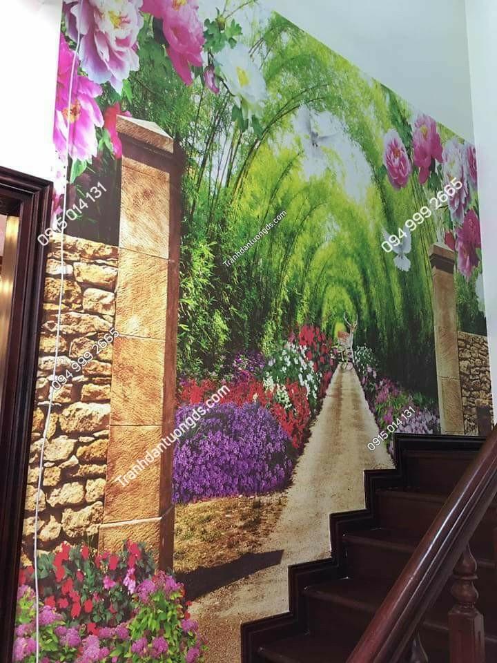 tranh con đường dán bậc cầu thang