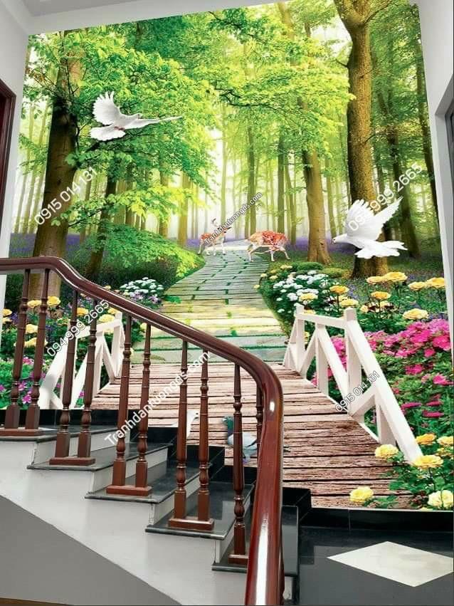 tranh con đường dán cầu thang