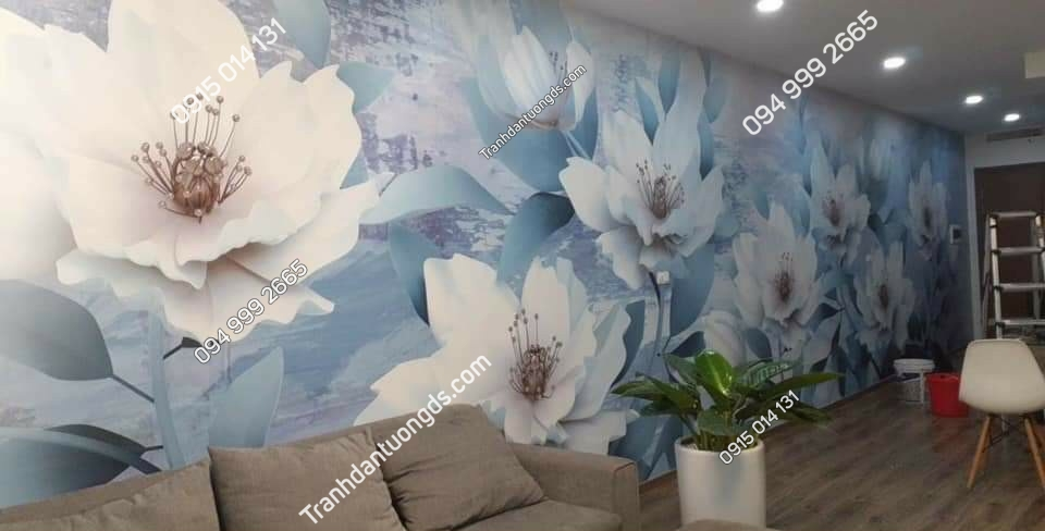 tranh dán tường hoa trắng mực dầu