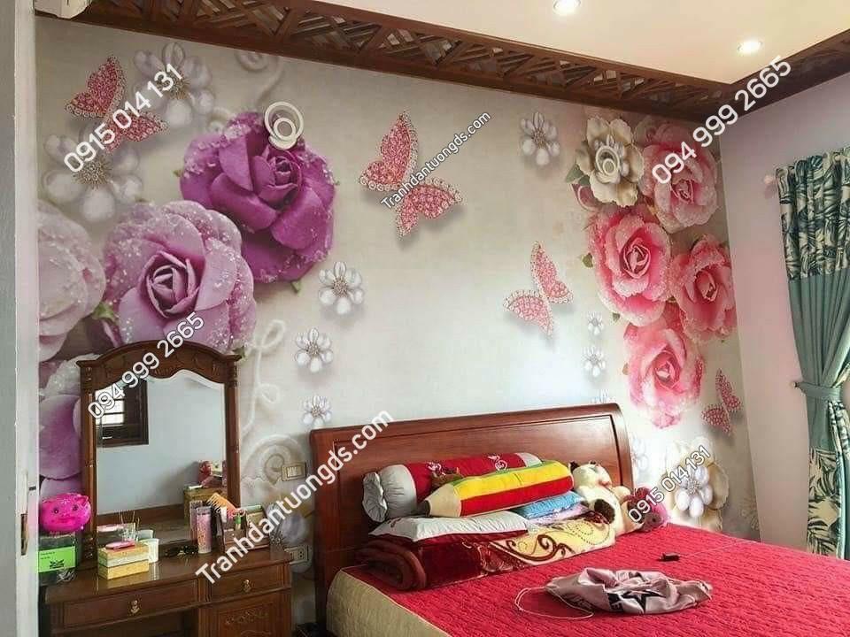 tranh hoa 3D phòng ngủ