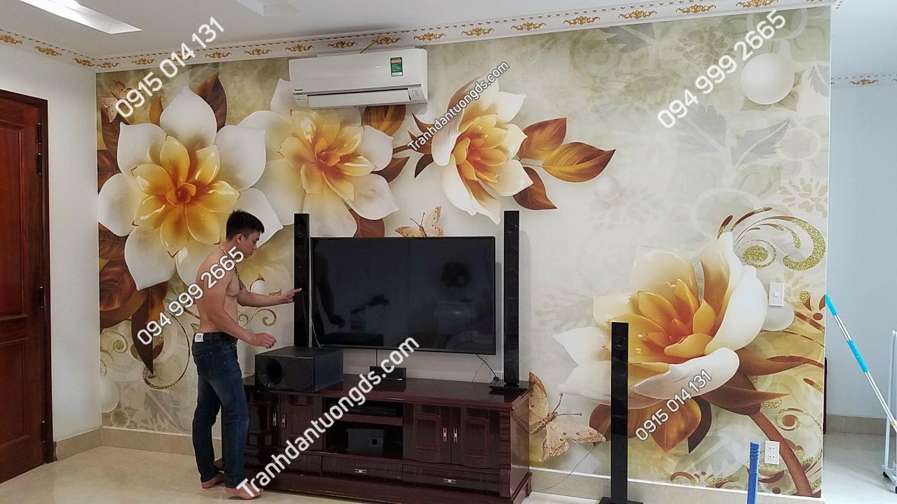 tranh hoa giả ngọc dán phòng khách