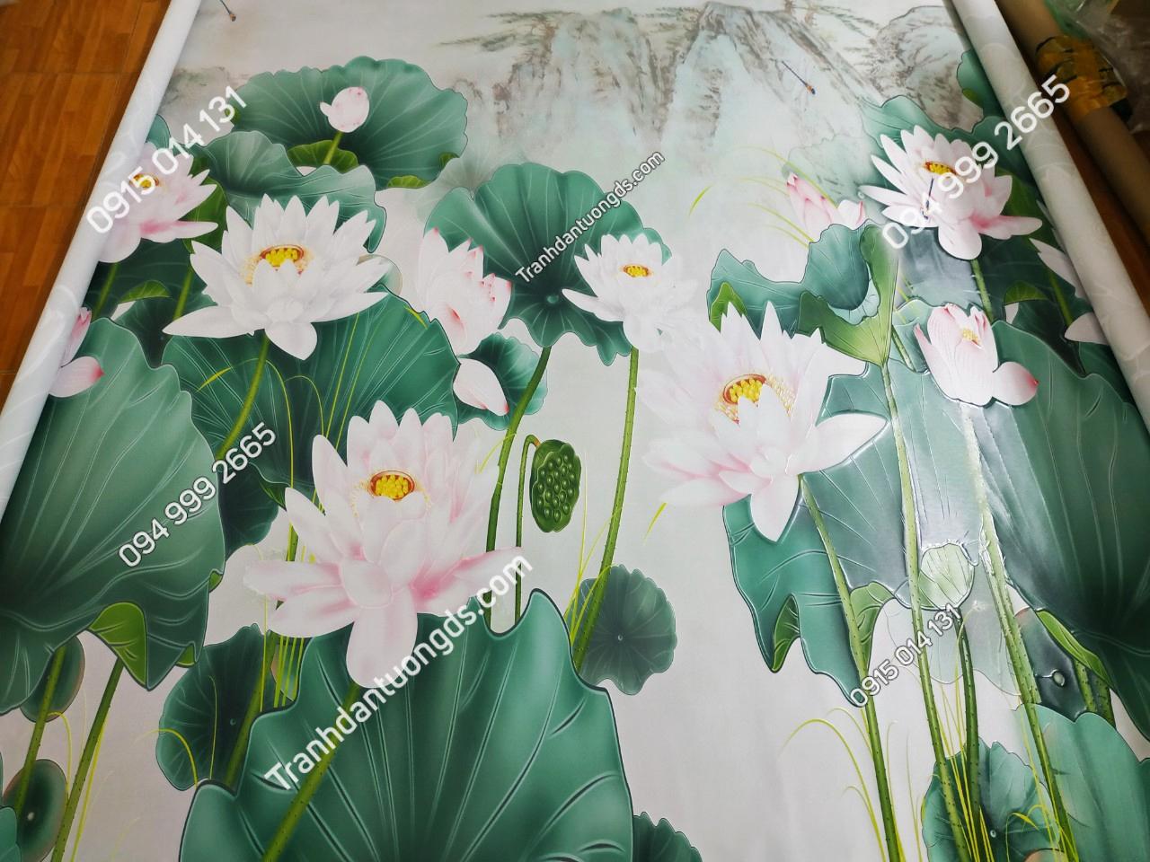 tranh hoa sen in nổi dán phòng thờ
