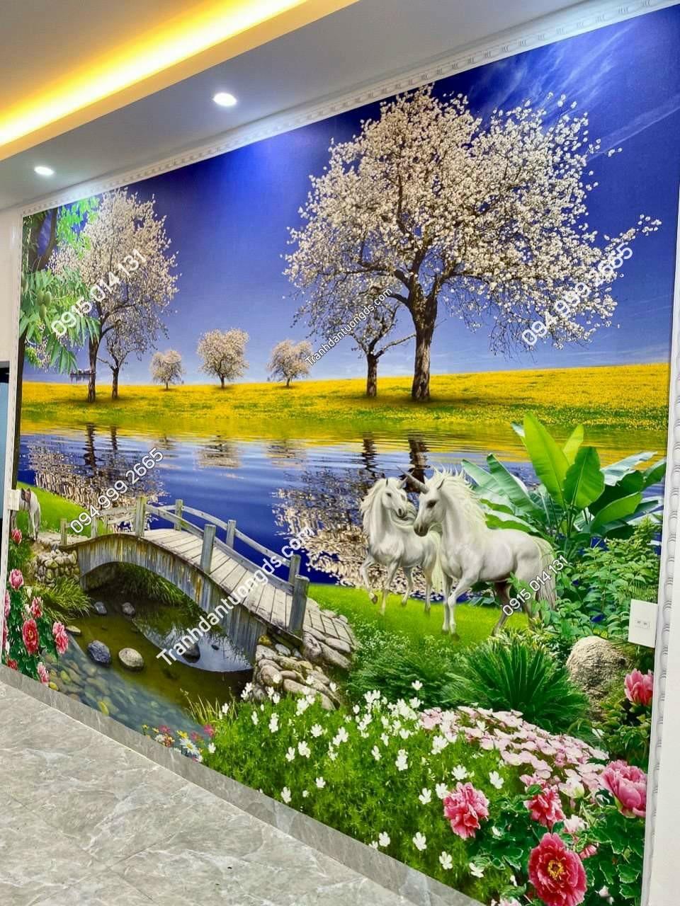 tranh phong cảnh dán tường 3D