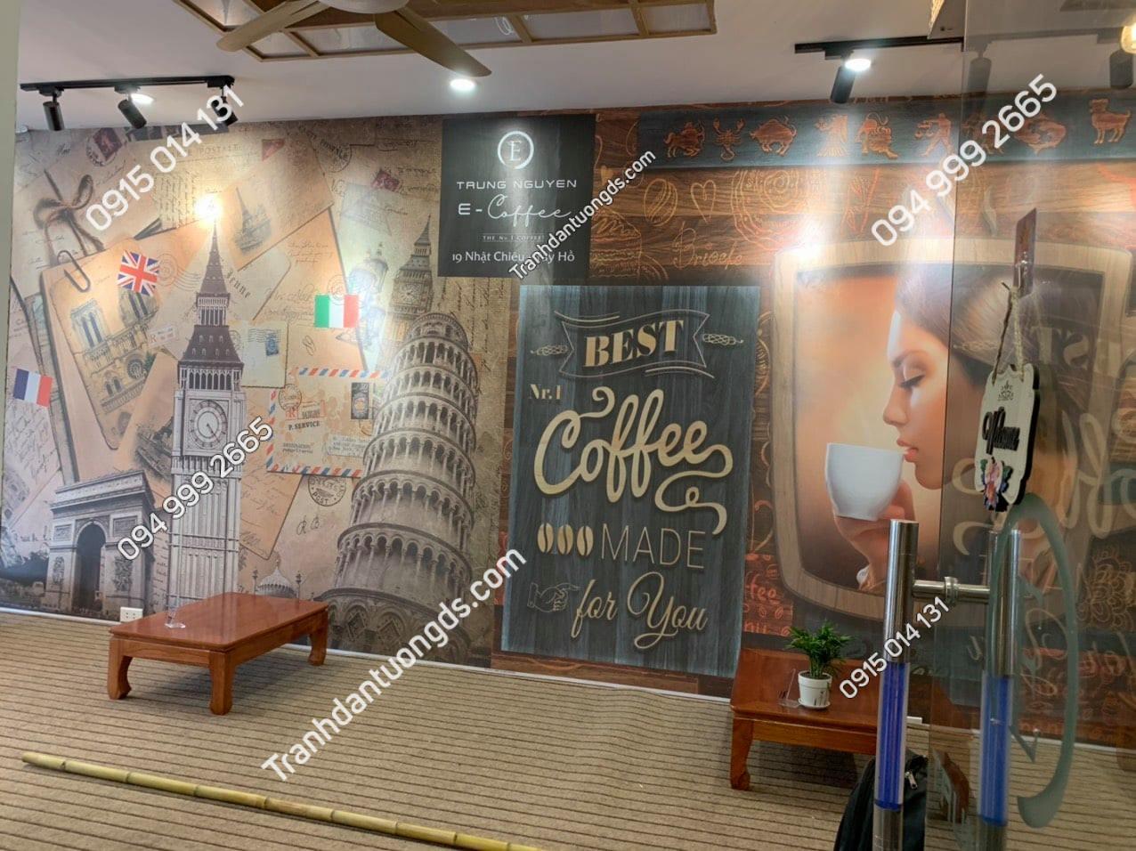 Tranh quán cafe trung nguyên