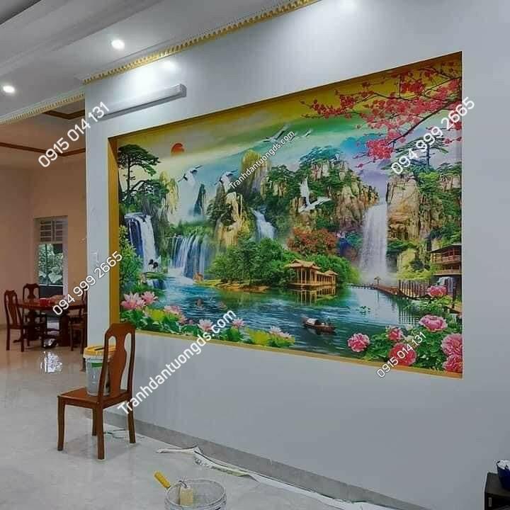 tranh sơn thủy dán phòng khách