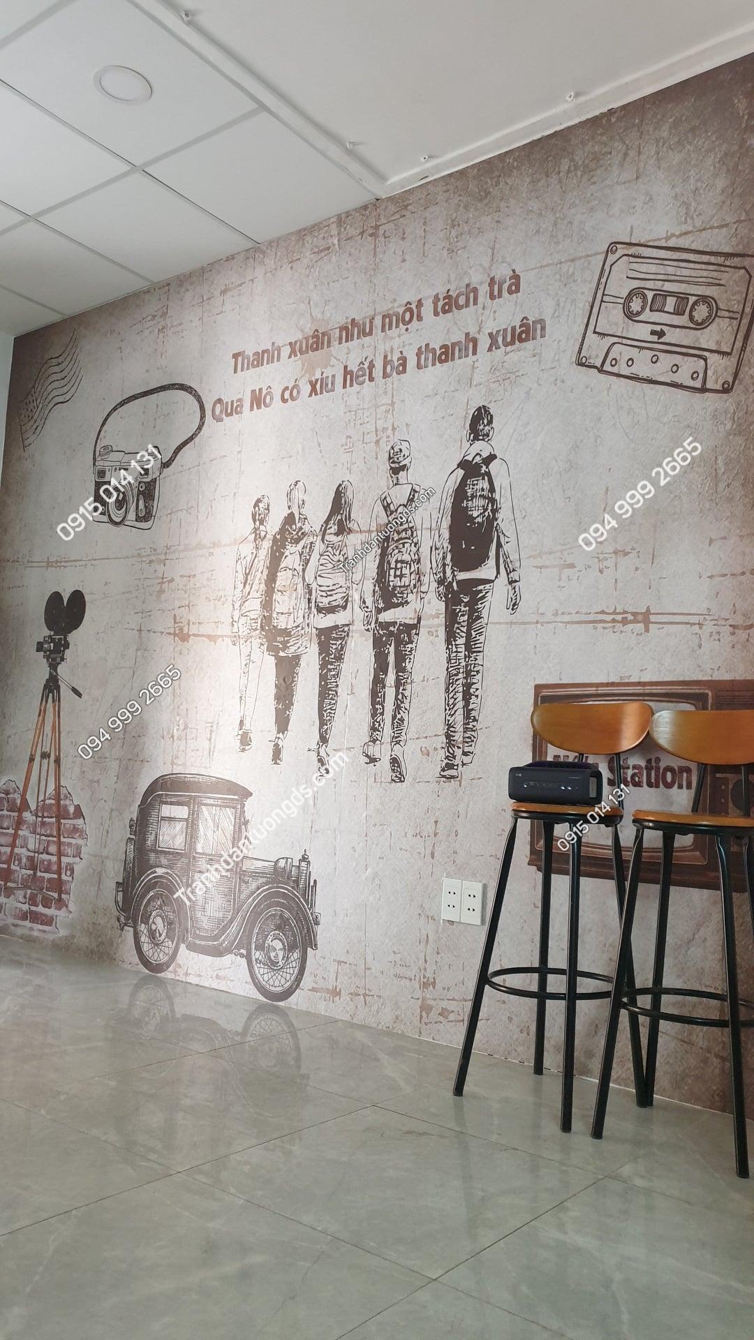 Tranh trắng đen cafe