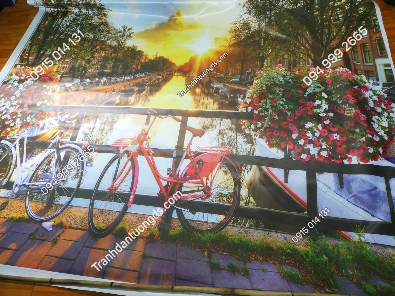 tranh xe đạp quán cafe