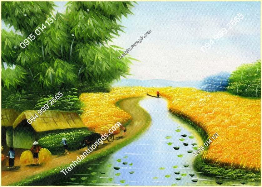 Tranh đồng quê con sông
