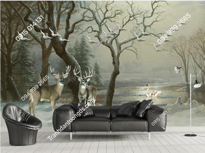 TRanh cảnh rừng cây khô 3D DS_16964579