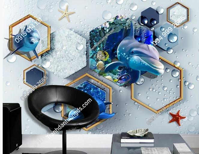 TRanh tường 3D hiện đại cá heo DS_18900716
