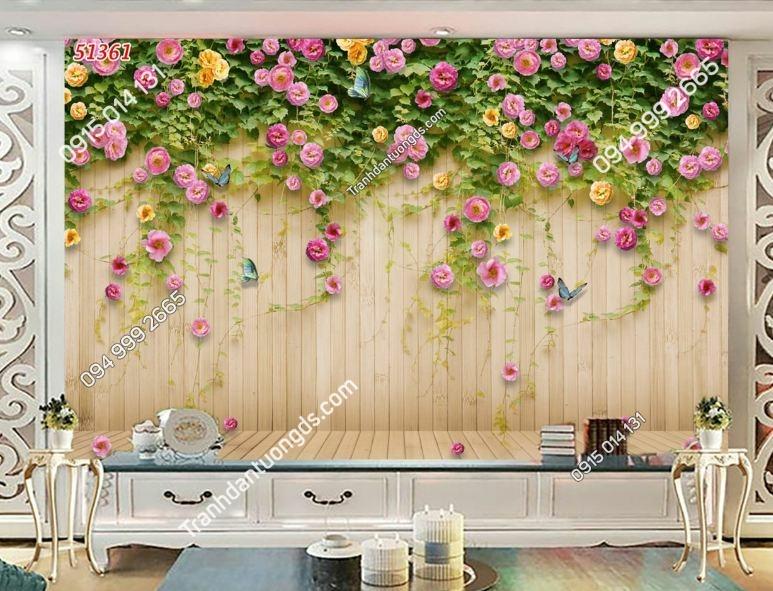 TRanh tường hoa hồng nền gỗ 51361