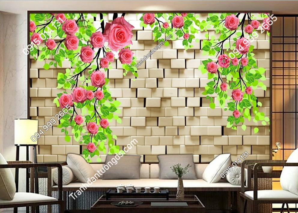 TRanh tường hoa và đá 3D 50479
