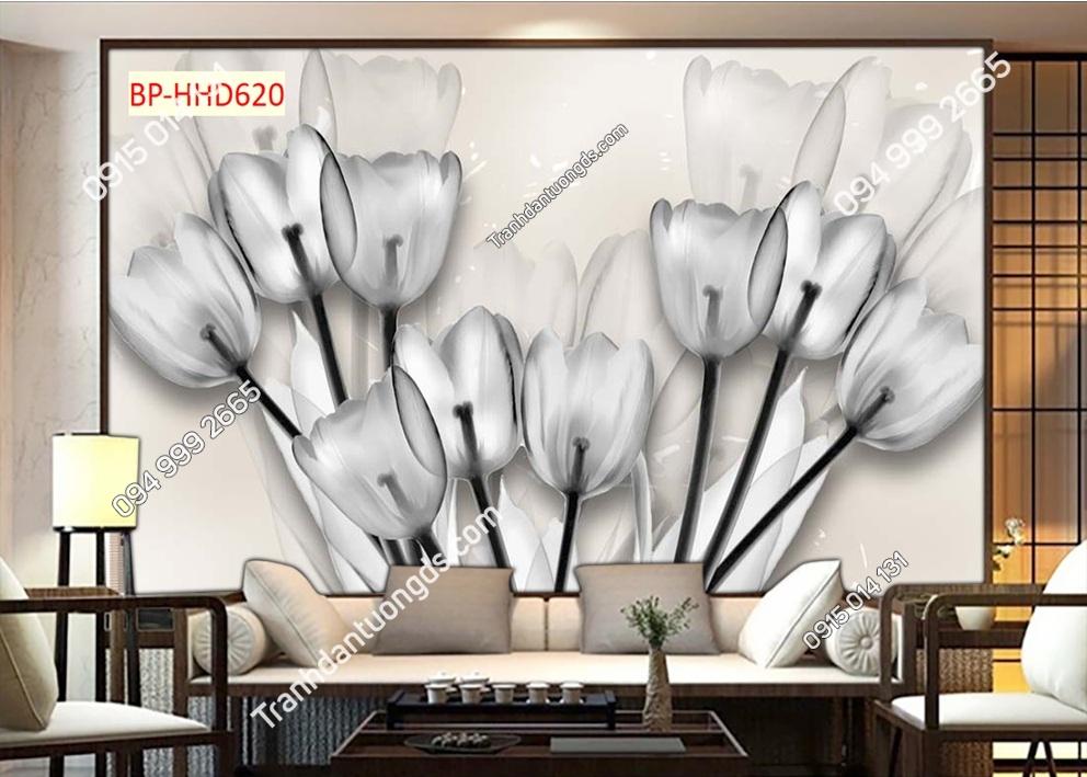 Trah hoa thủy tinh trắng đen HHD620