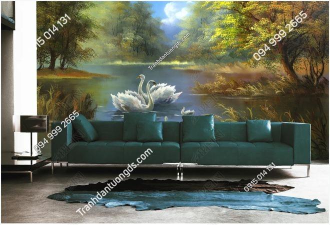 Tranh 3D thiên nga trong hồ DS_17399140