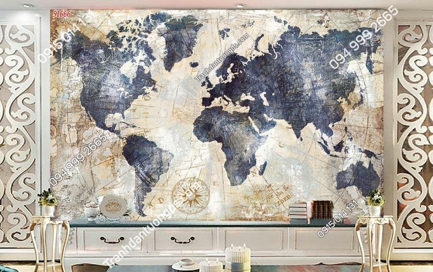Tranh bản đồ dán tường phòng khách 51666