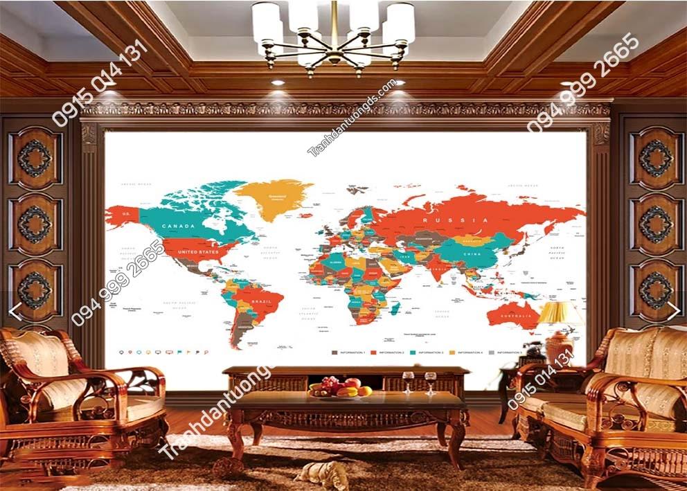 Tranh bản đồ địa lý thế giới 0033
