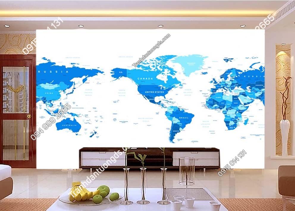 Tranh bản đồ hiện đại xanh trắng 0030