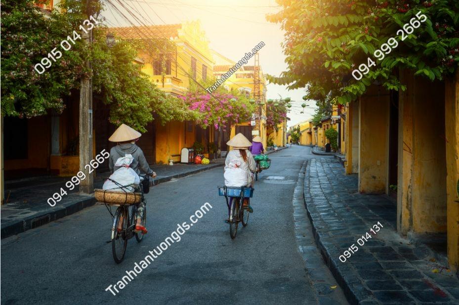 Tranh buổi sáng đi chợ Hội An 1095807563