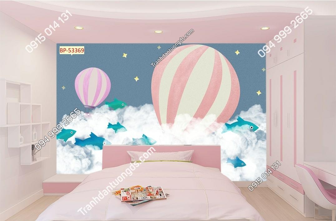 Tranh cá mây khinh khí cầu dán tường phòng bé 53369
