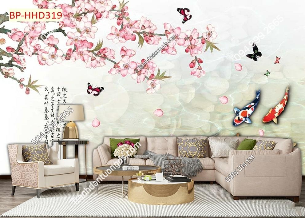 Tranh cá uyên ương và hoa đào hồng HHD319
