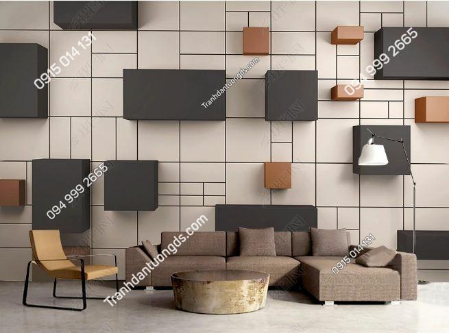 Tranh các khối 3D trên tường như thật DS_17326751