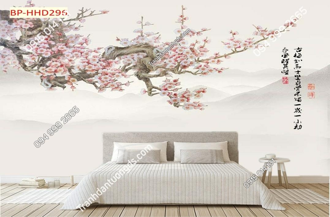 Tranh cành đào hồng dán tường phòng ngủ HHD296
