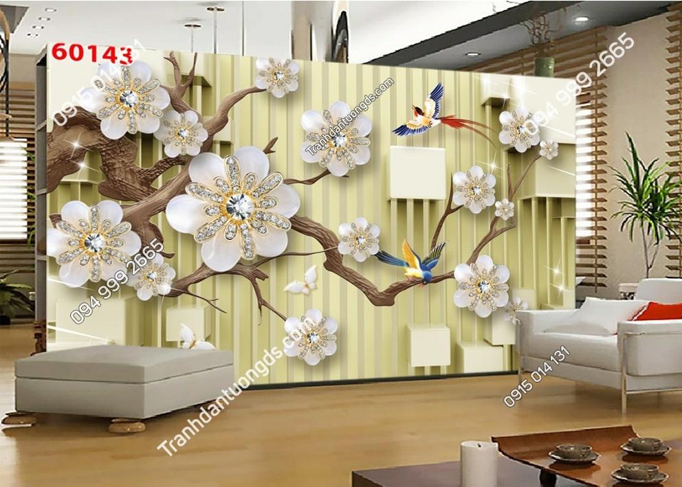 Tranh cành hoa và chim 3D 60143