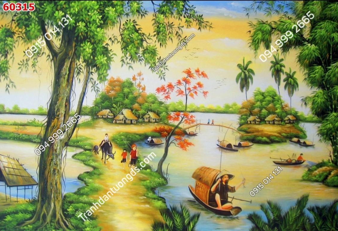 Tranh câu cá thôn quê 60315