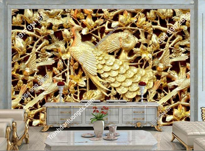 Tranh chim công giả vàng 3D DS_17813658