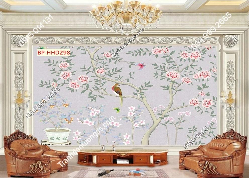 Tranh chim uyên ương và hoa hồng dán tường HHD298