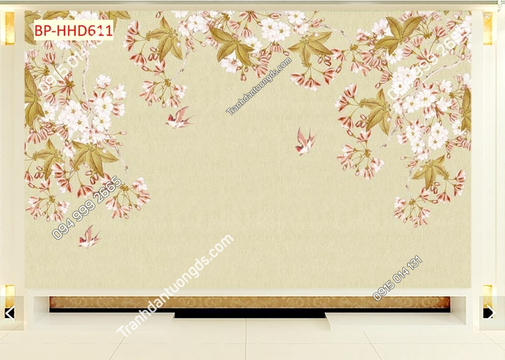 Tranh chim uyên ương và hoa màu hồng HHD611