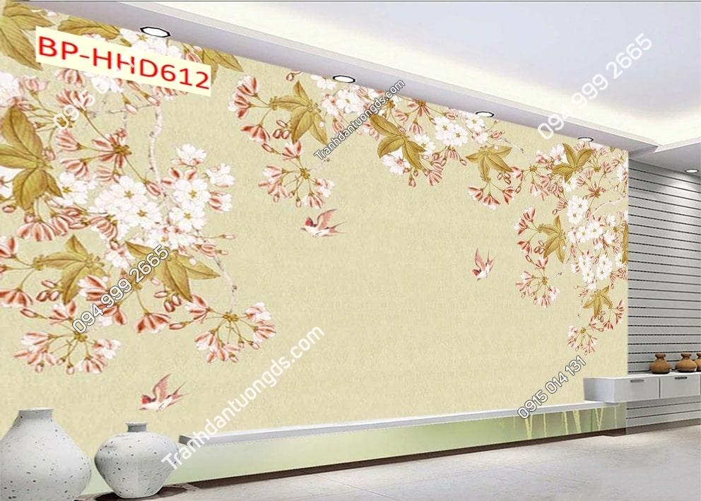 Tranh chim uyên ương và hoa màu hồng HHD612