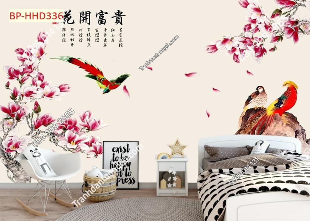 Tranh chim uyên ương và hoa sứ hồng HHD336
