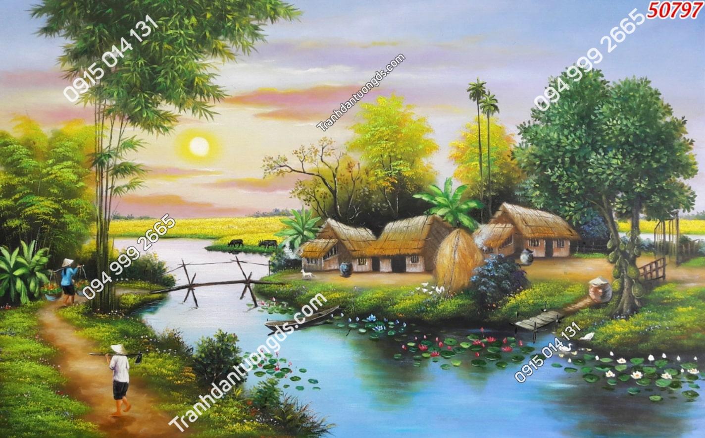 Tranh con sông quê êm đềm 50797