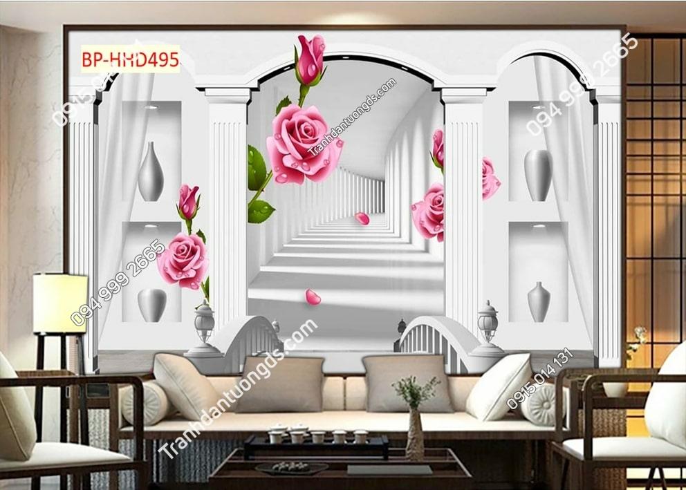 Tranh cổng vòm hoa hồng 3D HHD495