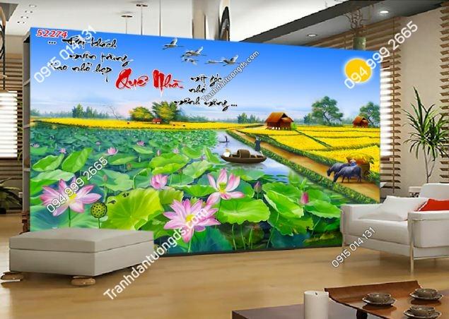 Tranh đầm sen đồng lúa vàng 52274
