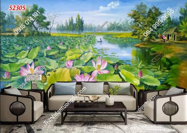 Tranh đầm sen vùng quê 52305