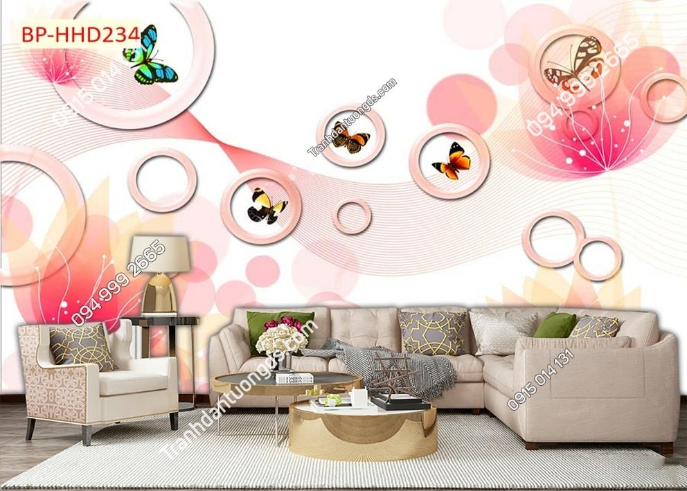 Tranh dán phòng khách với hoa 3D màu hồng HHD234