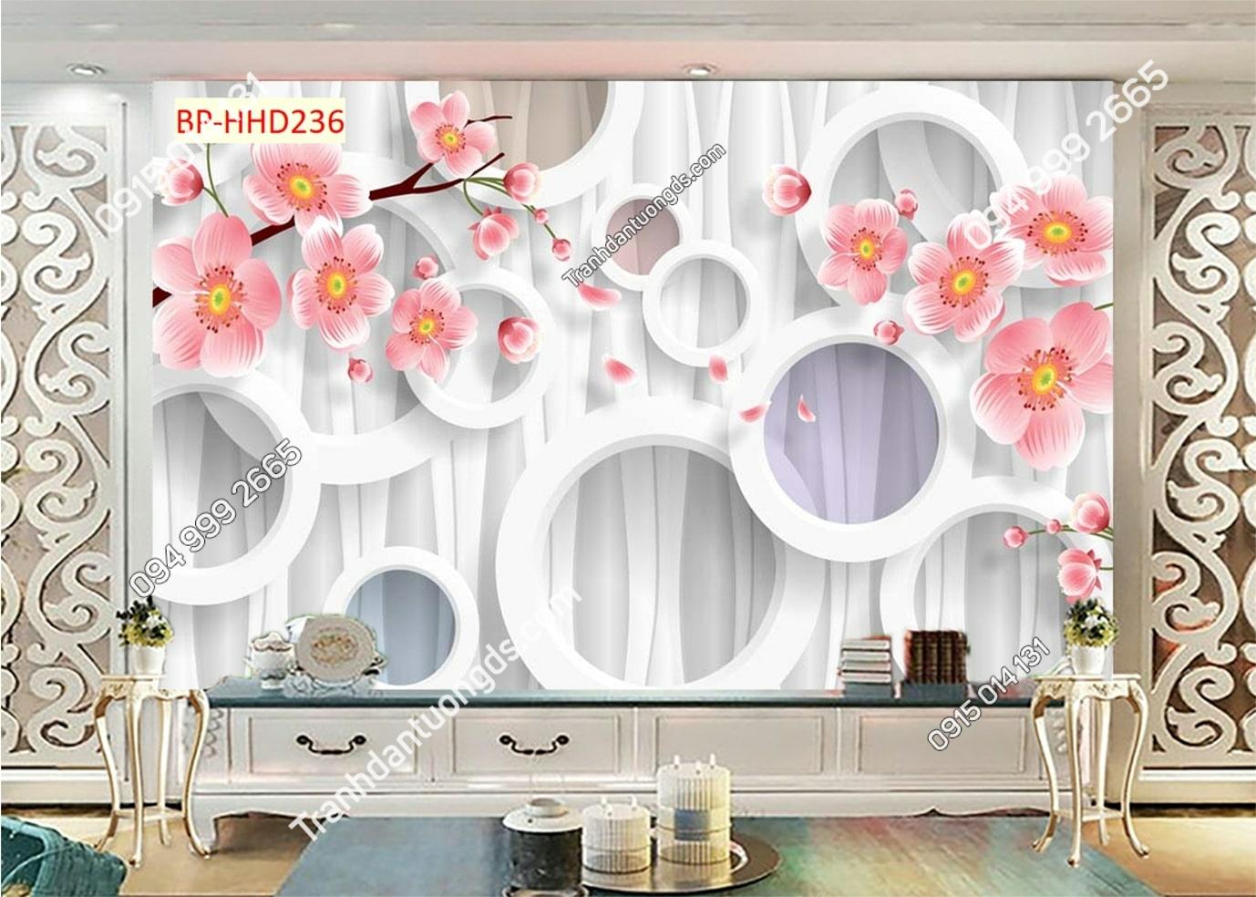 Tranh dán phòng khách với hoa 3D màu hồng HHD236