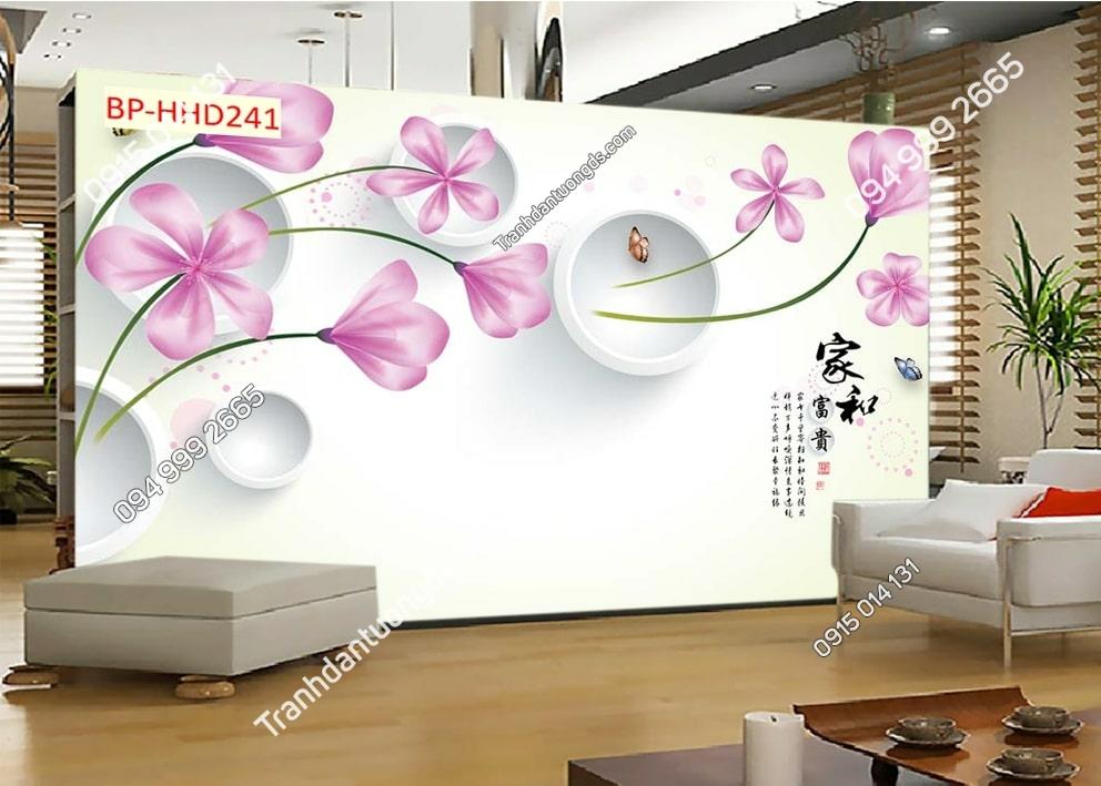 Tranh dán phòng khách với hoa 3D màu hồng HHD241