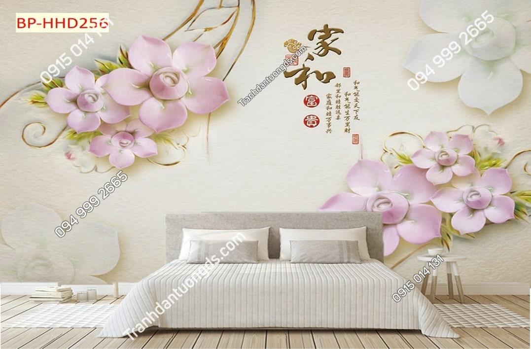 Tranh dán phòng khách với hoa 3D màu hồng HHD256