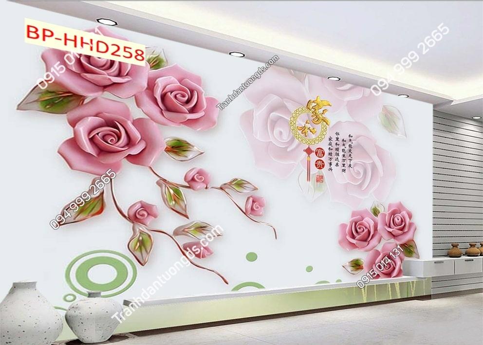 Tranh dán phòng khách với hoa 3D màu hồng HHD258