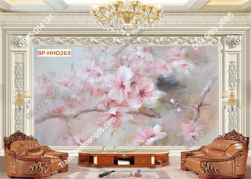 Tranh dán phòng khách với hoa 3D màu hồng HHD263