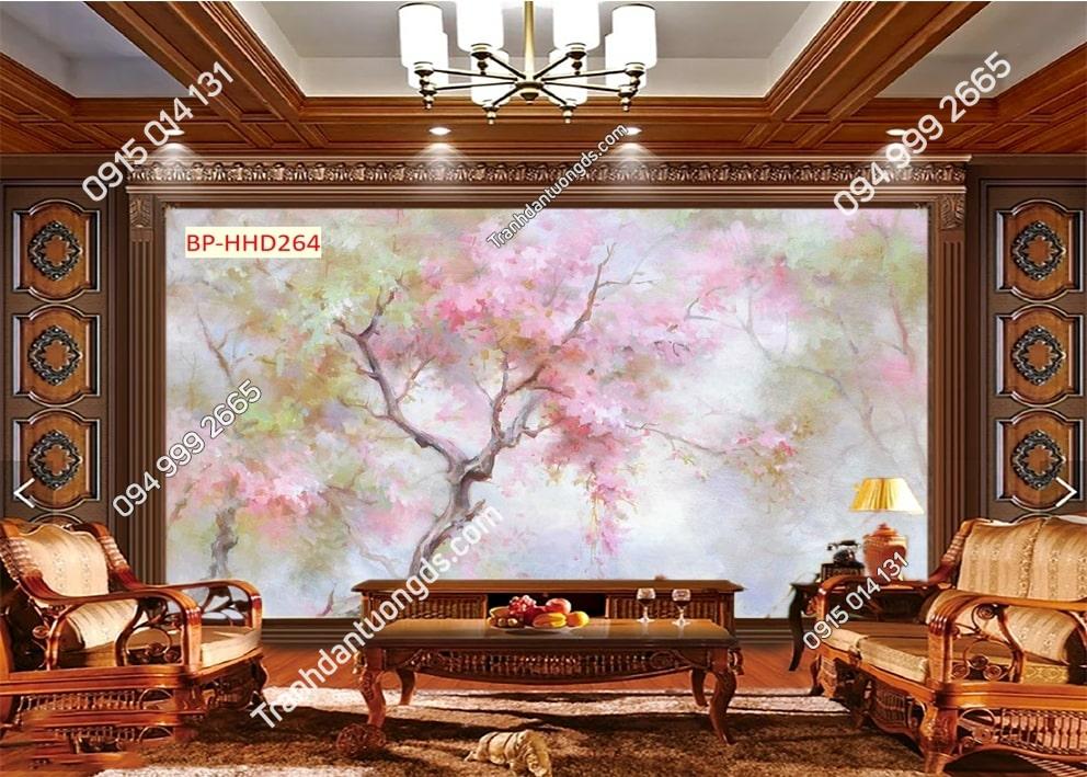Tranh dán phòng khách với hoa 3D màu hồng HHD264