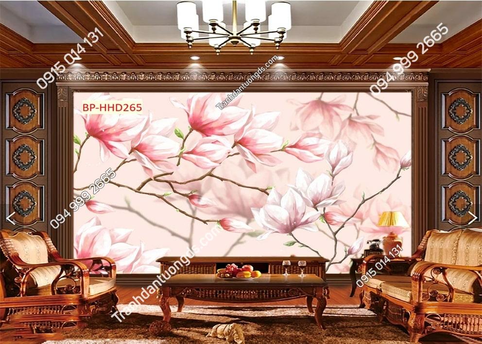 Tranh dán phòng khách với hoa 3D màu hồng HHD265